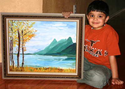 Rahul with Grand Teton Painting